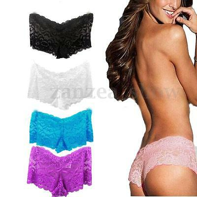 M-4XL HOT Sexy Lace Seamless Panty See Through Underwear Briefs Knicker Lingerie