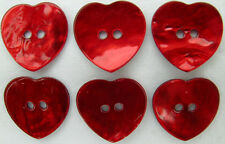 Akoya Shell HEART Buttons (Qty-6) 20mm RED