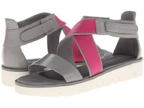 Tsubo Eliah strappy wedge sandals leather Ice taupe   Berry rose sz 7.5 Md NEW