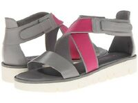 Tsubo Eliah Strappy Wedge Sandals Leather Ice Taupe / Berry Pink Sz 9 Med