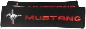 Seat Belt Pads - Mustang Tri-Bar Logo in Red * Worldwide Shipping & FREE To USA