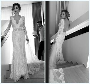 Details About Long Sleeve Bridal Gown Vintage Lace Wedding Dress Custom Size 2 4 6 8 10 12 14