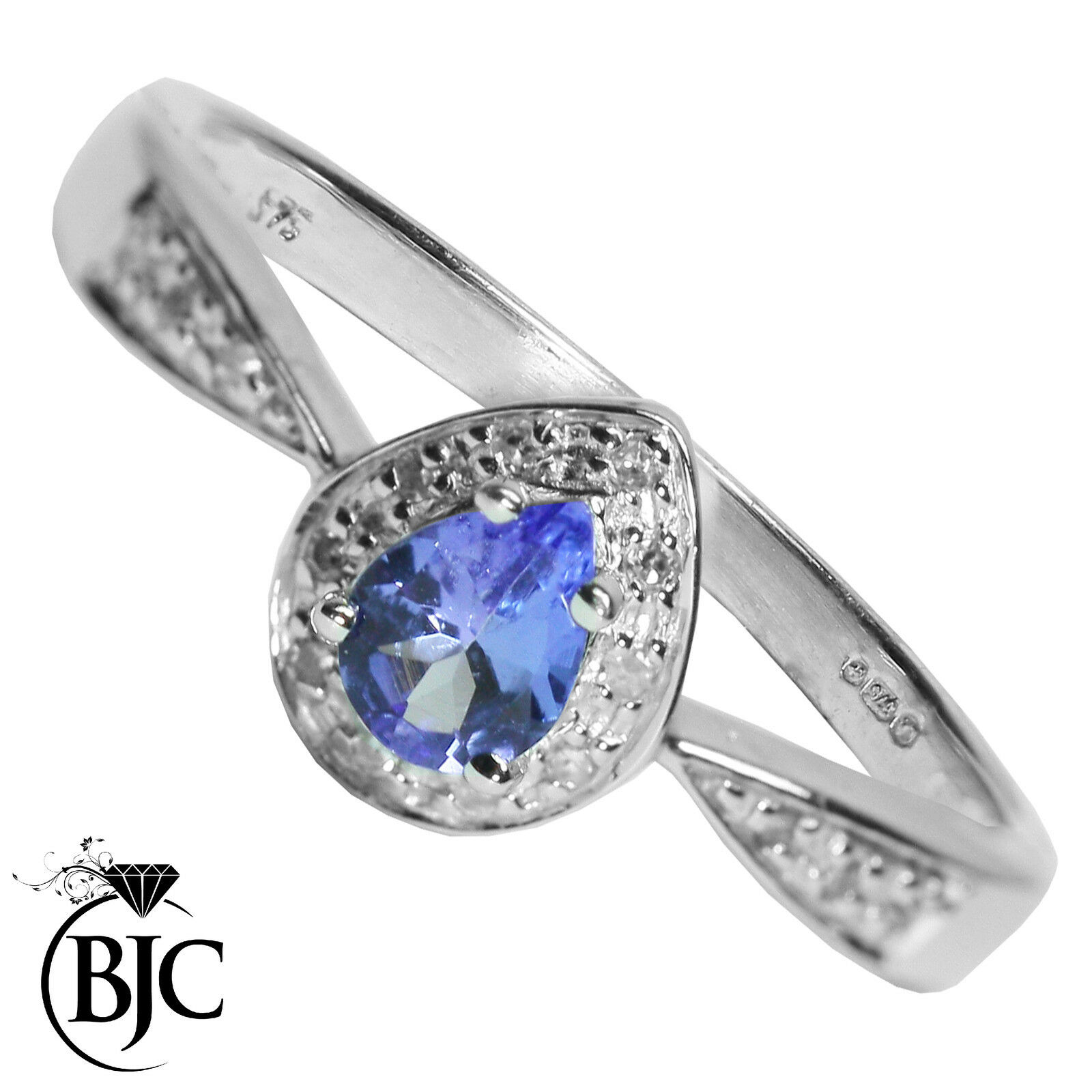 Bjc 9 Ct White gold Tanzanite & Cluster Diamant size N 1 2