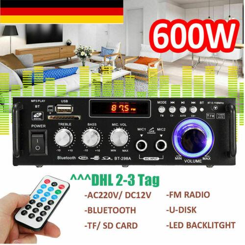600W 220V HiFi-Verstärker Bluetooth Mini Endstufe USB SD AUX Musik Sound Party