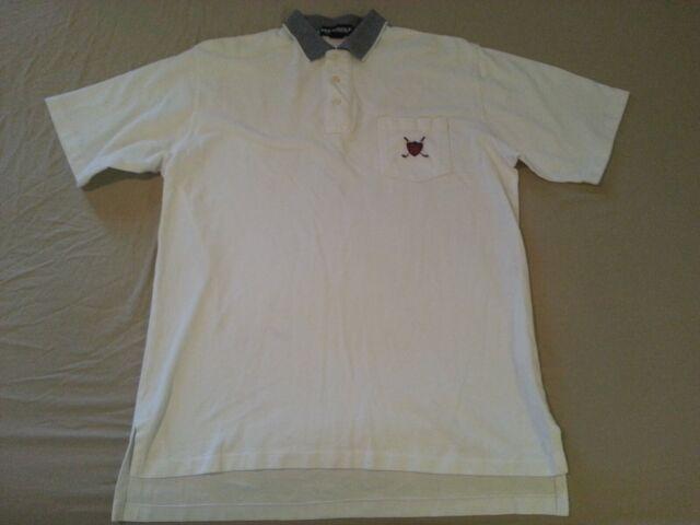Mens Polo Ralph Lauren Shirt L Large White Cotton Golf