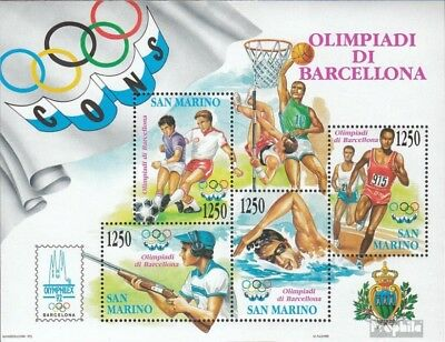 Never Hinged 1992 Olympics Refreshment Careful San Marino Block15 Unmounted Mint complete Issue