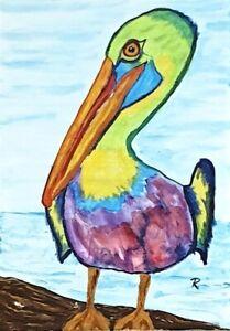 034-Kaleidoscope-Pelican-034-Original-Painting-De-Martino-Art
