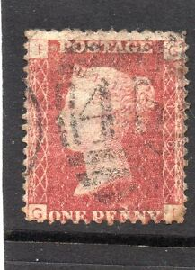 Queen-Victoria-One-Penny-red-stamp-SG43-Plate-110-Letters-G-I