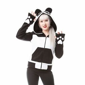 Killer Panda Kp Split Up Hood Ladies Black White Goth Emo Punk