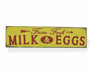 "Farm Fresh Milk & Eggs Retro Vintage Tin Bar Sign Country Home Decor 15.75"" x 4"""