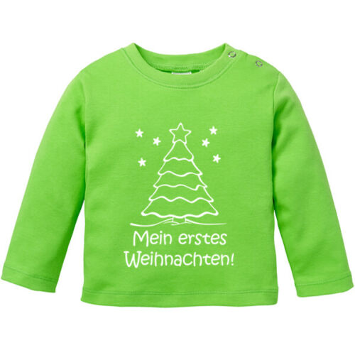 """Langarmshirt Spruch /""""Mein erstes Weihnachten/"""" 100/% BIO Baumwolle"""