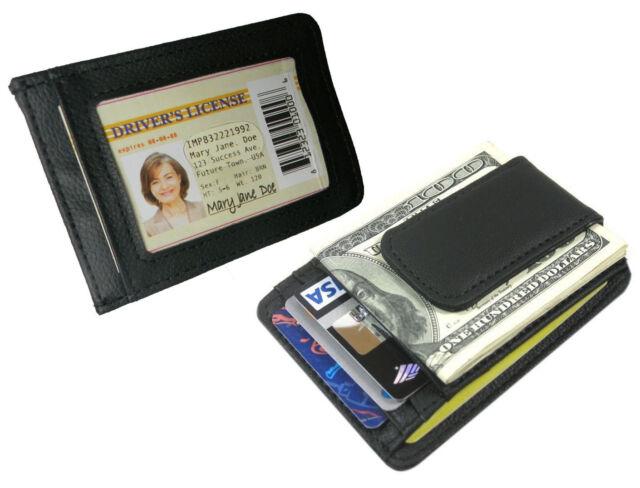 BLACK ID BADGE MENS LEATHER BIFOLD MONEY CLIP WALLET CREDIT CARD HOLDER