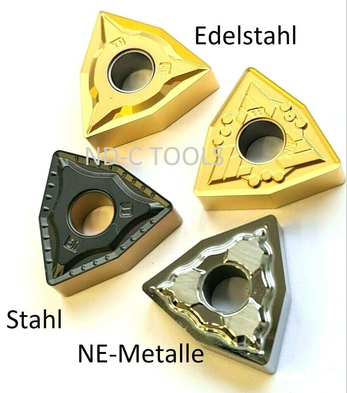 10x WNMG0804... für Stahl, Edelstahl & NE-Metalle