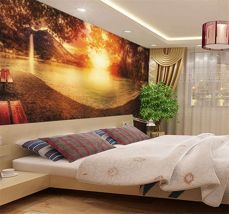 Beauty Orage Sunset Lake Full Wall Mural Photo Wallpaper Print Kid Home 3D Decal