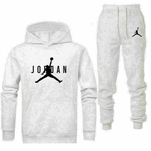 Mens Fleece Hoodies Pants Set Jogging Sports Running Trousers Pullover Suit Gym