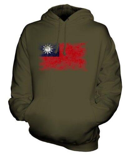 TAIWAN DISTRESSED FLAG UNISEX HOODIE TOP ZHONGHUA MINGUO TAIWANESE TAIWAN