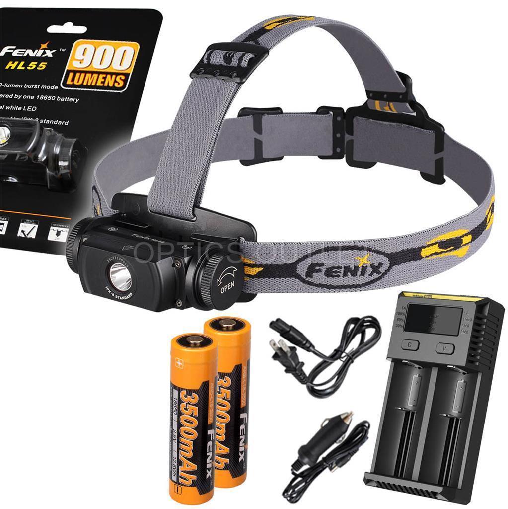 Fenix HL55 900 Lumen Headlamp w  2x 3500mAh 18650 & Smart Charger (AC Car)