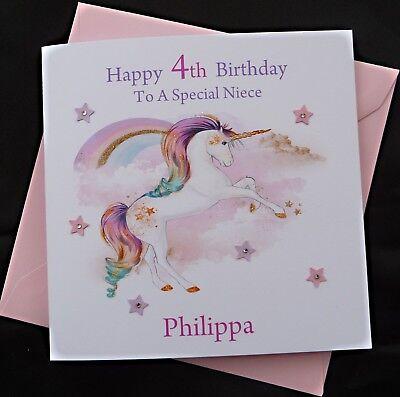 Personalised UNICORN Birthday Card Daughter Granddaughter 1st 2nd 3rd 4th 5th 6th 7th 8th 9th 10th 13th