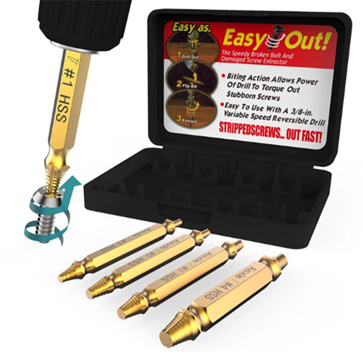 4pcs titanium screw extractor drill guide broken