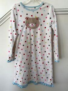 12d44f9a7 Carters Girls White Polka Dot Applique Cat L/S Fleece Nightgown Size ...