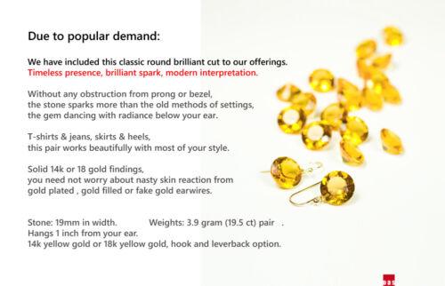 NEW Pure 18k 14k Gold Brilliant Cut Citrine Designer Earrings Hook Leverback