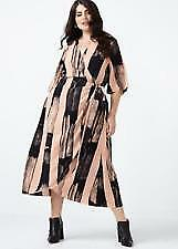 Details about Melissa McCarthy georgette print wrap dress plus size 0X XL  kimono look