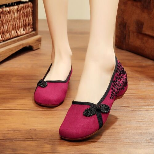 Chinese Embroidered Floral Cloth Shoes Women Ballerina Flat Loafer Pump Slip On
