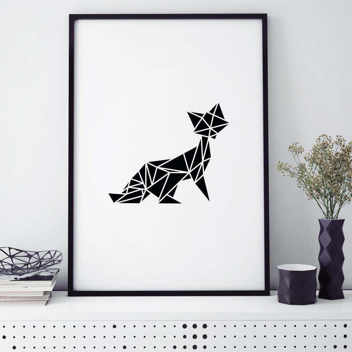 JUNIWORDS Poster mit Rahmen  Origami Fuchs  Geschenk Geburtstag DIN A4 A3 A2 A1