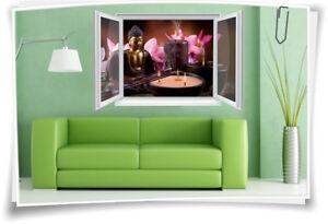 Details zu 3D Fenster Wanbild Wandtattoo Aufkleber Wohnzimmer Wellness  Buddha Deko Flur