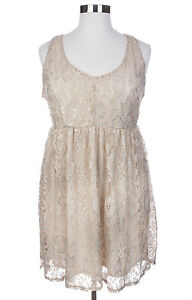 Details about CUTE TORRID PLUS SIZE CREAM LUREX SLEEVELESS LACE LINED TANK  DRESS Sz 22