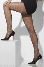 Ladies Sexy Opaque Black Spiderweb Pattern Halloween Fancy Dress Costume Tights