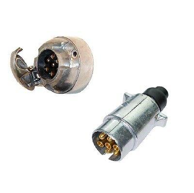 7 pin SOCKET & 7 pin PLUG Trailer Wiring Lights 12v volt aluminium METAL 12N (2)