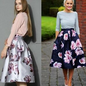 Elegant Women Floral High Waist A-line Pleated Swing Skirt Midi ...