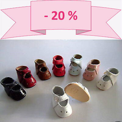 -20% Promo - Set Di 3 Paia Scarpe Di Cuoio Per Bambola Bleuette - Bravot Chiaro E Distintivo