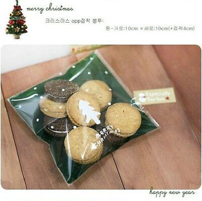 50pcs Xmas Party Gift Cookies Cello Bags Self Adhesive Candy Bag Cellophane Pack