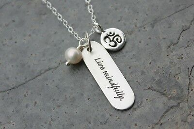 Live Mindfully Inspirational Words Sterling Silver Zen Charm Necklace- Aum Pearl