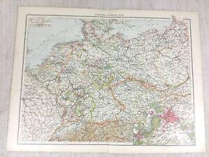 1898 Antik Map Of Deutschland Deutsche Reich Alte 19th Jahrhundert Viktorianisch