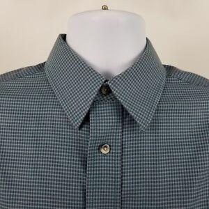 Jos-A-Bank-Traveler-Tailored-Fit-Mens-Green-Check-L-S-Dress-Button-Shirt-Sz-M
