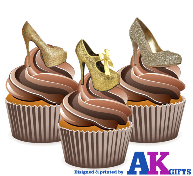 Decorations Shoes Party 12 High Edible Cupcake Toppers Precuts Gold Heel Silver S3Rjqc4AL5
