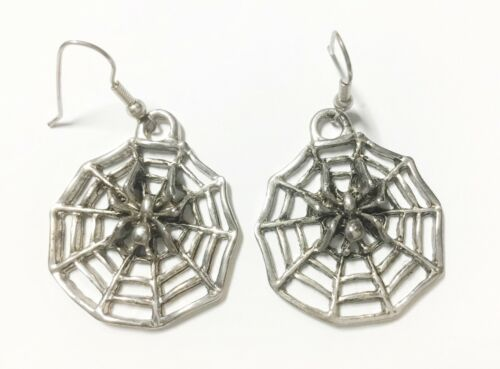 Sandcast Sterling Silver Spider & Web Earrngs