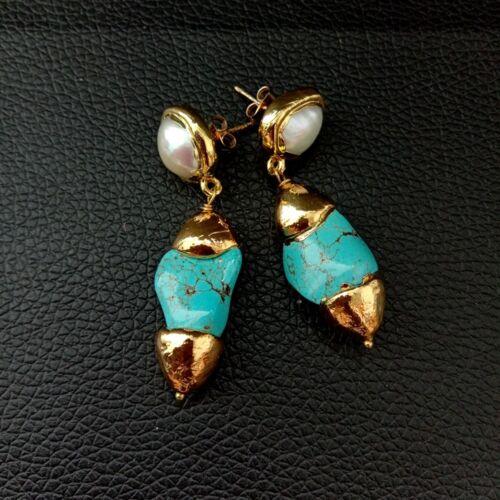 Perle Blanche Bleu Turquoise 24 K Plaqué Or Goujon earringsv