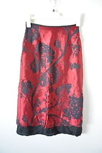 CUE-Pencil-Skirt-Small-6-8-Red-Black-Silk-Lined-Tree-Print-Cocktail-Formal