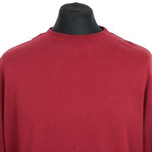 Vintage-HUGO-BOSS-Red-Sweatshirt-Jumper-Sweater-Pullover-Top-Retro