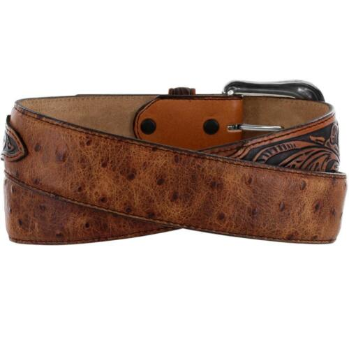 Tony Lama Western Mens Belt Leather Rustic Ostrich Made In The USA Tan C42525