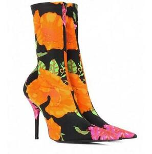 Fashion-Women-Floral-Pointy-Toe-Slim-Stretch-Ankle-Boots-Stiletto-Heel-Big-Shoes
