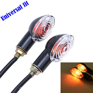2x Universal Motorcycle Bike Mini Turn Signal Blinker Amber Light Indicators PSB