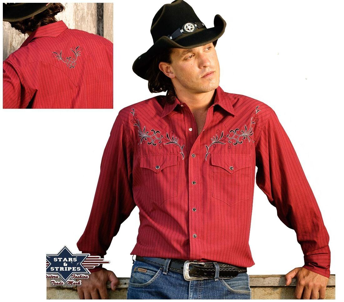 Camicia COUNTRY WESTERN Camicia Rosso Cowboy Camicia Clyde signori estrellas & Stripes nuovo