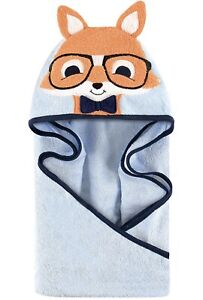 Hudson Baby Unisex Baby Cotton Animal Face Hooded Towel Nerdy Fox One Size