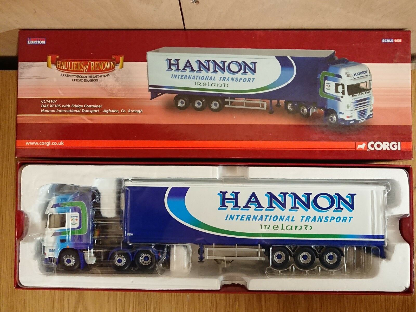Corgi CC14107 DAF XF105 Fridge Container Hannon Int. Trans. Factory Sample