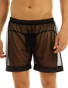 Men-039-s-Sheer-See-Through-Boxer-Briefs-Mesh-Underwear-Shorts-Trunks-Underpants